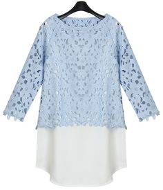 Blue Long Sleeve Two Piece Blouse US$36.80