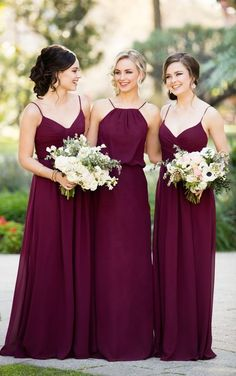 Burgundy Chiffon Floor Length Bridesmaid Dress by Sorella Vita