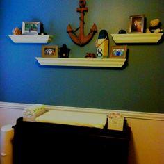 Nautical nursery i like the shelf arrangement
