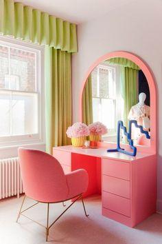 Home Decor Living Room spring 2020 color trends: Bubblegum Pink.Home Decor Living Room spring 2020 color trends: Bubblegum Pink Room Ideas Bedroom, Bedroom Decor, Quirky Bedroom, Bedroom Shelves, Bedroom Signs, Pastel Room, Aesthetic Room Decor, Home Interior, Danish Interior