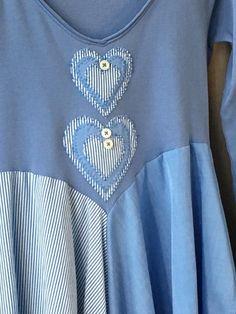 Blue upcycled tunic Lagenlook tunic artsy tunic romantic