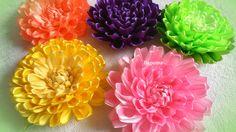 diy how to make satin ribbon flower, kanzashi tutorial