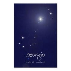 Scorpio Constellation Prints and Poster. Pick your size and paper! Original design by Ink & Dot Studio.