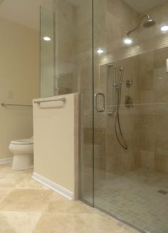 Barrier free shower and glass walls for this Ann Arbor master bathroom...nice & barrier free shower | Master Bath redo | Pinterest | Showers ...