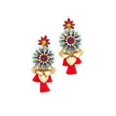 Elizabeth Cole Kela Earrings (515 CAD) ❤ liked on Polyvore featuring jewelry, earrings, tropical, swarovski crystal jewelry, heart earrings, heart shaped earrings, tassle earrings and heart charm