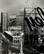 Berenice Abbott (United States, 1898-1991), Columbus Circle, gelatin silver print, 13 x 10 1/2 inches. On loan from the University of Maine Museum of Art, Museum Purchase: Stebbins and Schildknecht Art Fund, 96.12.1