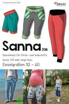 eBook Sanna - women's pants in 3 lengths sizes 32 - 60 - Trend Maternity Style 2020 Family Outfits, Kids Outfits, Camping Ideas, Trousers Women, Pants For Women, Women's Trousers, Plus Size Sewing Patterns, Casual Look, Maternity Fashion