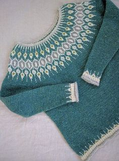 Knitting Patterns Girl Pattern available on Ravelry in may Knitting Designs, Knitting Projects, Norwegian Knitting, Ravelry, Icelandic Sweaters, I Cord, Fair Isle Pattern, Knitting Patterns, Crafts
