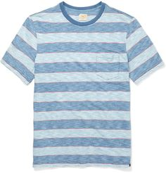 American label Faherty is inspired by the easy-going notion of 'eternal summer'. This regular-cut cotton T-shirt is a perfect example, patterned with tonal-blue stripes and highlighted with touches of coral. It's a fail-safe casual option.