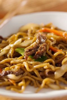 Easy Asian Beef & Noodles. This is delicious. It satisfies my craving for lo-mein.