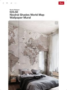 Classic world map wallpaper wall mural muralswallpaper soft neutrals work a dream in this bedroom this world map wallpaper adds a stylish and elegant look to any room gumiabroncs Image collections