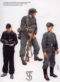 1: Sargento de tropas panzer, Führer-Begleit-Brigade (Brigada de Escolta del Führer), 1944 2: Granadero panzer, Division Granadera Führer, 1945 3: Sargento, Wachbataillon Berlin, 1943