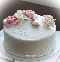 Herkkä nimiäiskakku Tortas Baby Shower Niña, Torta Baby Shower, Pink Christening Cake, Communion Cakes, Occasion Cakes, Girl Cakes, Stork, Creative Cakes, Amazing Cakes