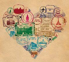 tattoo idea - liking the idea of a ohio/michigan/travel theme....heart print - passport stamp