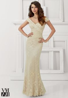 71113 Evening Gowns / Dresses Lace with Beading Cream