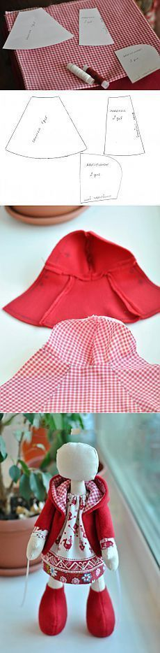Doll's lined jacket with hood {Site not in English} from Escudo con la muñeca capucha - Masters Feria - hecho a mano, hecho a mano Girl Doll Clothes, Barbie Clothes, Sewing Clothes, Girl Dolls, Baby Dolls, Doll Dress Patterns, Barbie Patterns, Clothing Patterns, Habit Barbie