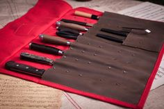 These knife rolls are a solution for a sturdy knife roll, without the expense of using all leather.  The canvas is an 18oz (612 gsm) lightly waxed cotton, and t