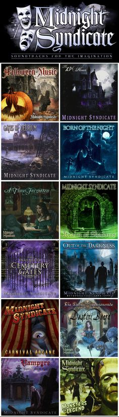 """Midnight Syndicate is an American musical group that has been working mainly in the genre of gothic music since 1997   The band refers to their CDs as """"soundtracks for the imagination"""" or """"soundtracks to imaginary films."""" Most of the songs on their thirteen albums are characterized by a blend of instrumental music and sound effects and are commonly used to provide atmosphere during the Halloween season, in haunted attractions, and in the role-playing game industry."""