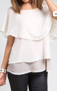 Cream Ombre Lace Blouse $38.95 www.shopspoiledgirl.com