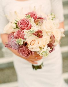 This bouquet of dusky lilac, rose, peach and white is old-fashioned in the best sort of way. Photo by Christine Olson