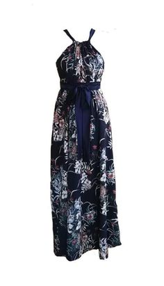 One size fits all, lined, long statement dress with adjustable ties around the neck and waist. Flatters most body types. Body Types, One Size Fits All, Clothes For Women, Fitness, Blue, Dresses, China, Outerwear Women, Vestidos