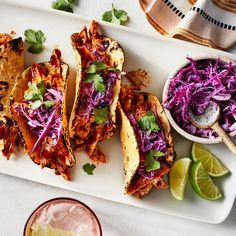 BBQ Chicken Tacos with Red Cabbage Slaw Recipe - EatingWell Slaw Recipes, Chicken Recipes, Healthy Recipes, Healthy Dinners, Healthy Food, Healthy Eating, Recipe Chicken, Healthy Chicken, Cooking Chicken To Shred