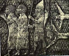 An ancient wall relief depicting some Black Hebrew Israelites being taking into captivity. There are many places in the Bible where you will find the description of the Israelites as Black People, so it's not surprising to see them depicted here with negros features
