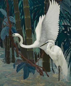Jessie Arms Botke (1883-1971) - Egrets, oil and gold leaf on masonite, 76,2 x 63,5 cm.