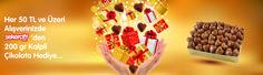 Bayrama özel hediyeler http://www.sekercity.com adresinde sizi bekliyor. 200gr Pelit kalp el yapımı çikolata yanımda hediye