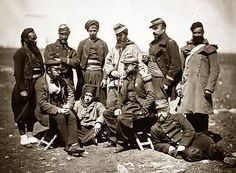 French Zouaves posing for a photo during the Crimean War.