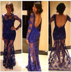 Custom Made Blue Lace Prom Dress,See Through Evening Dress,Sexy Open Back Party Dress,Long Sleeves Prom Dresses