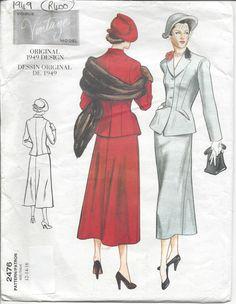 1949 Vintage VOGUE Sewing Pattern JACKET & SKIRT by tvpstore