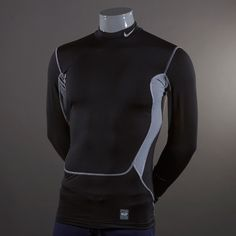 Nike Hyperwarm Dri-Fit Max Compression Mock - Black/Grey Size L #pdsmostwanted