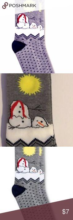 New Melting Snowman Men's Crew Socks 2 pair. Brand New OMG So Ugly Holiday  Crew
