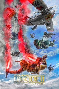 Attack Of The Clone by ZahirBatin Star Wars Rpg, Star Wars Ships, Star Wars Clone Wars, Star Wars Humor, Star Wars Pictures, Star Wars Images, Star Wars Concept Art, Star Wars Fan Art, Star Wars Wallpaper