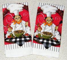 2 Italian Fat Chef Pasta Bistro Decor Red Black White Kitchen Towels | eBay
