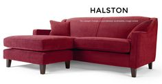 Halston, un canapé d'angle à méridienne modulable, rouge orient | made.com