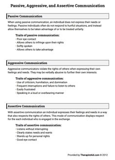Passive, Aggressive, and Assertive Communication - Interpersonal Effectiveness Assertive Communication, Effective Communication, Communication Skills, Communication Techniques, Communication Activities, Therapy Worksheets, Therapy Activities, Group Activities, Coping Skills