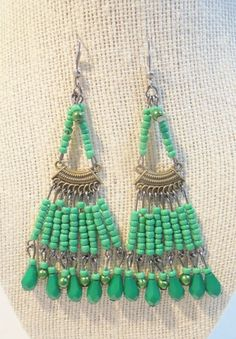 Vintage Boho Earrings Green Glass Dangle Large Chunky Retro Pierced Beads Hippie #Unbranded #DropDangle