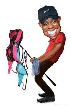 Tiger Woods // Jason Seiler (Caricature) Dunway Enterprises - http://dunway.com