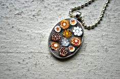Mosaic Pendant Yellow Stars and Flowers 2 by earthmothermosaics