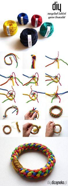 recycled tshirt yarn bracelet | bransoletka ze sznurka dzianinowego z recyklingu