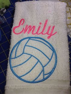 1 personalized embroidered volleyball towel by LindaKaysCreations, $10.00
