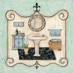 Blue 2 Printable modpodge or scrapbooking Bathroom Prints, Bathroom Art, Bathrooms, Mosaic Bathroom, Decoupage Vintage, Decoupage Paper, Vintage Prints, Vintage Art, Retro