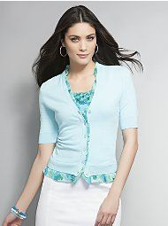 Cute cardi and rosette cami's!  @NewYorkandCompany - Love the trim on the cardi - could do this to mine