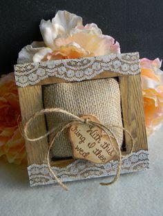 Rustic Ring Bearer Pillow Burlap Pillow Wood Heart by justforkeeps