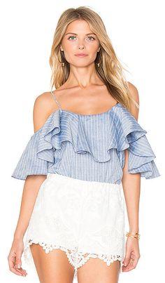 589af9c2b663ac NWT Misa Los Angeles Marina Flutter Sleeve Off Shoulder Cotton Blue Top  Blouse L