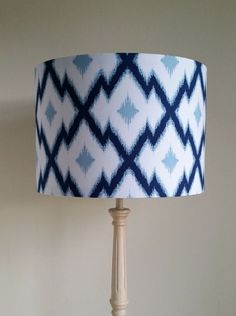 Botanique-Aztec Ikat-Deepwater Fabric Handmade Lampshade