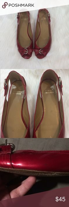 """Stuart Weitzman Patent Leather Chitchat Flats Have some grey marks on the leather: shown in photos. Patent leather flats featuring a peep toe detail and buckle accents. Has a 1"""" Heel: no trades. Stuart Weitzman Shoes Flats & Loafers"""
