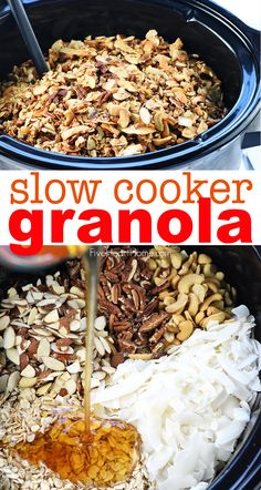 Crunchy golden slow cooker granola combines oats nuts coconut coconut oil and honey in the crock pot for an effortless wholesome treat! fivehearthome com granola slow cooker brown sugar garlic chicken recipe dessert cake recipes Gourmet Recipes, Cooking Recipes, Healthy Recipes, Slow Cooker Recipes Dessert, Muesli, Slow Cooking, Clean Eating Snacks, Yummy Food, Favorite Recipes